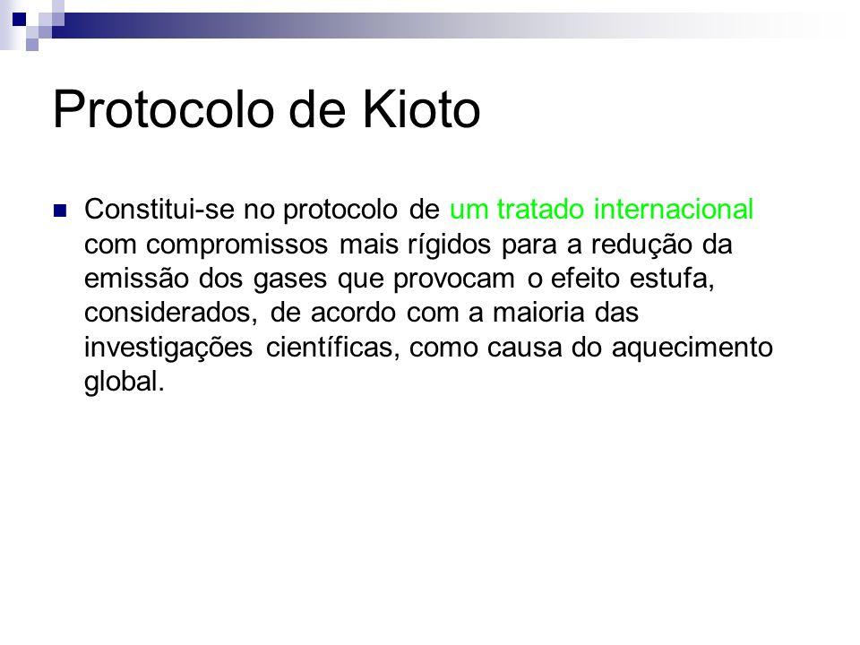 Protocolo de Kioto Constitui-se no protocolo de um tratado internacional com compromissos mais rígidos para a redução da emissão dos gases que provoca