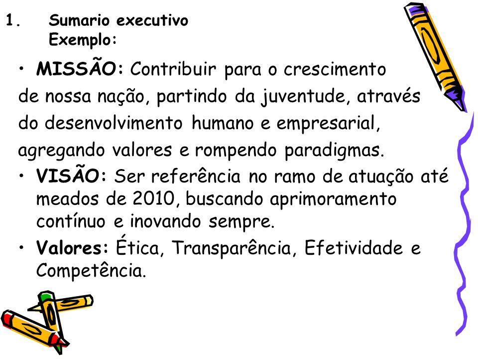 1.Sumario executivo Exemplo: MISSÃO: Contribuir para o crescimento de nossa nação, partindo da juventude, através do desenvolvimento humano e empresar