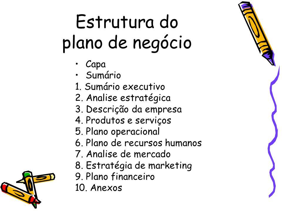 Estrutura do plano de negócio Capa Sumário 1. Sumário executivo 2. Analise estratégica 3. Descrição da empresa 4. Produtos e serviços 5. Plano operaci