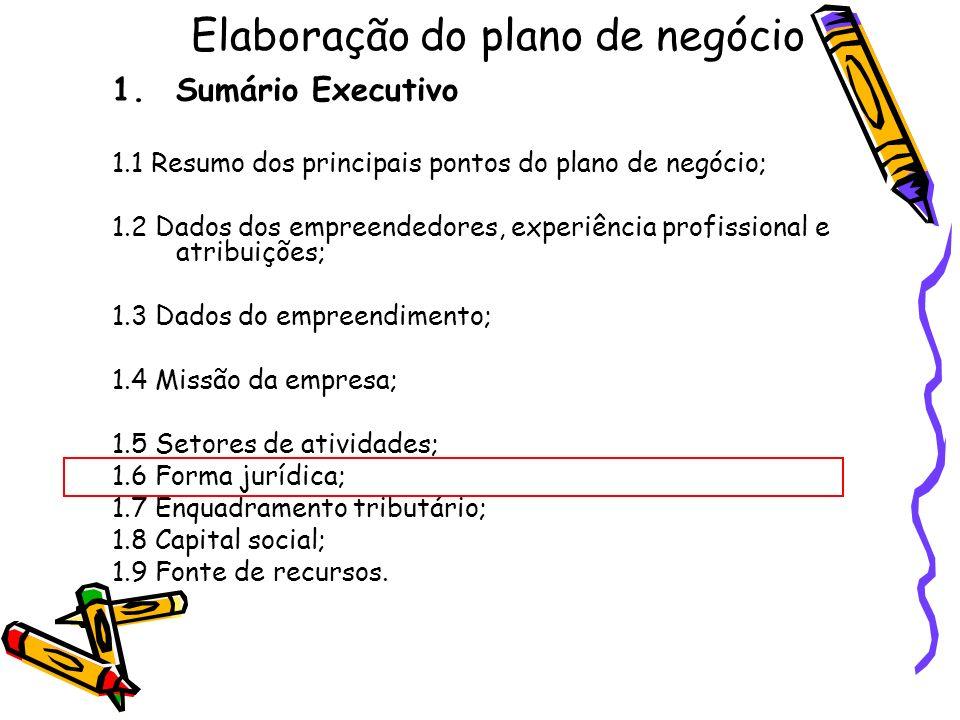 Elaboração do plano de negócio 1.Sumário Executivo 1.1 Resumo dos principais pontos do plano de negócio; 1.2 Dados dos empreendedores, experiência pro