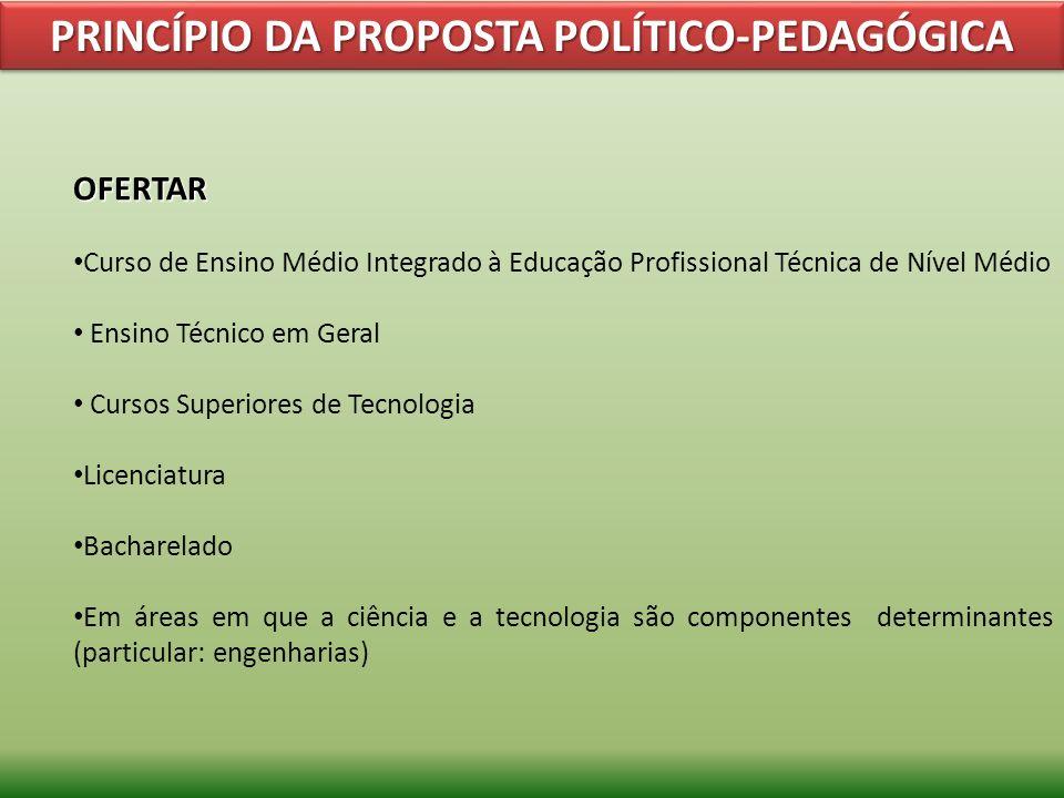 PRINCÍPIO DA PROPOSTA POLÍTICO-PEDAGÓGICA OFERTAR Curso de Ensino Médio Integrado à Educação Profissional Técnica de Nível Médio Ensino Técnico em Ger