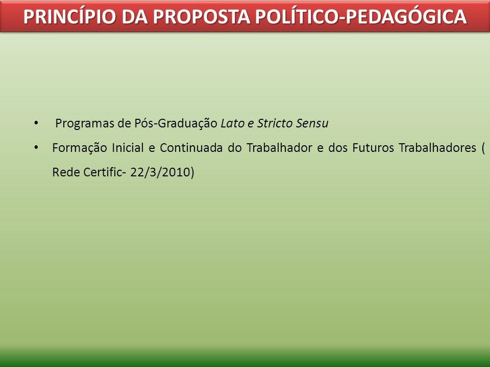 PRINCÍPIO DA PROPOSTA POLÍTICO-PEDAGÓGICA Programas de Pós-Graduação Lato e Stricto Sensu Formação Inicial e Continuada do Trabalhador e dos Futuros T