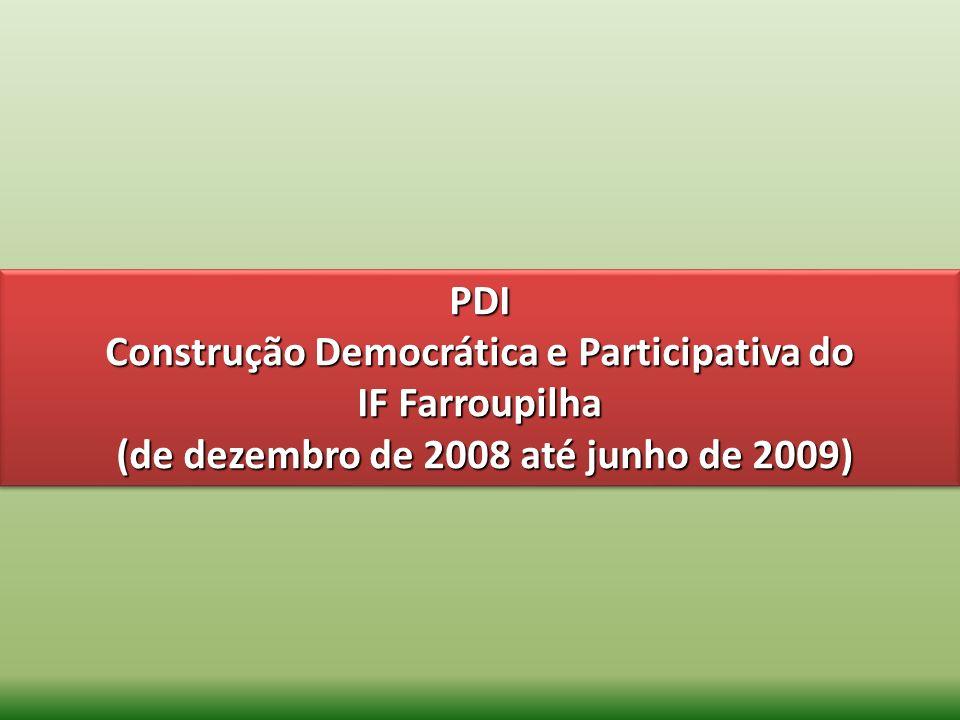 PDI Construção Democrática e Participativa do IF Farroupilha (de dezembro de 2008 até junho de 2009) PDI Construção Democrática e Participativa do IF