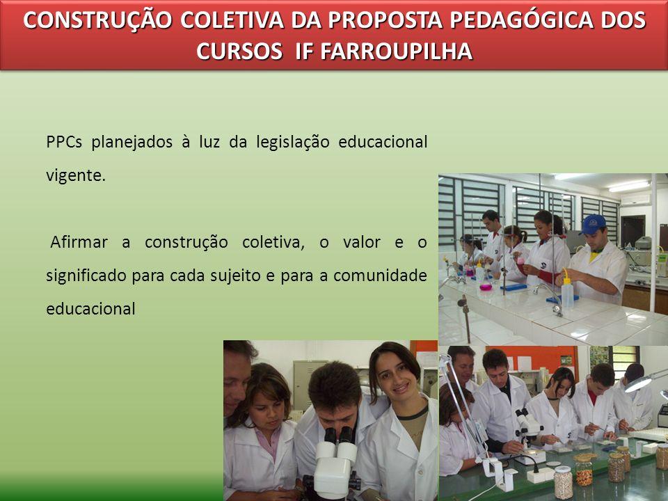 CONSTRUÇÃO COLETIVA DA PROPOSTA PEDAGÓGICA DOS CURSOS IF FARROUPILHA PPCs planejados à luz da legislação educacional vigente. Afirmar a construção col