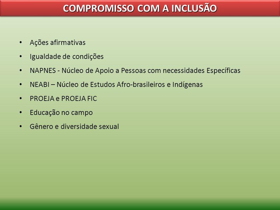 COMPROMISSO COM A INCLUSÃO Ações afirmativas Igualdade de condições NAPNES - Núcleo de Apoio a Pessoas com necessidades Específicas NEABI – Núcleo de