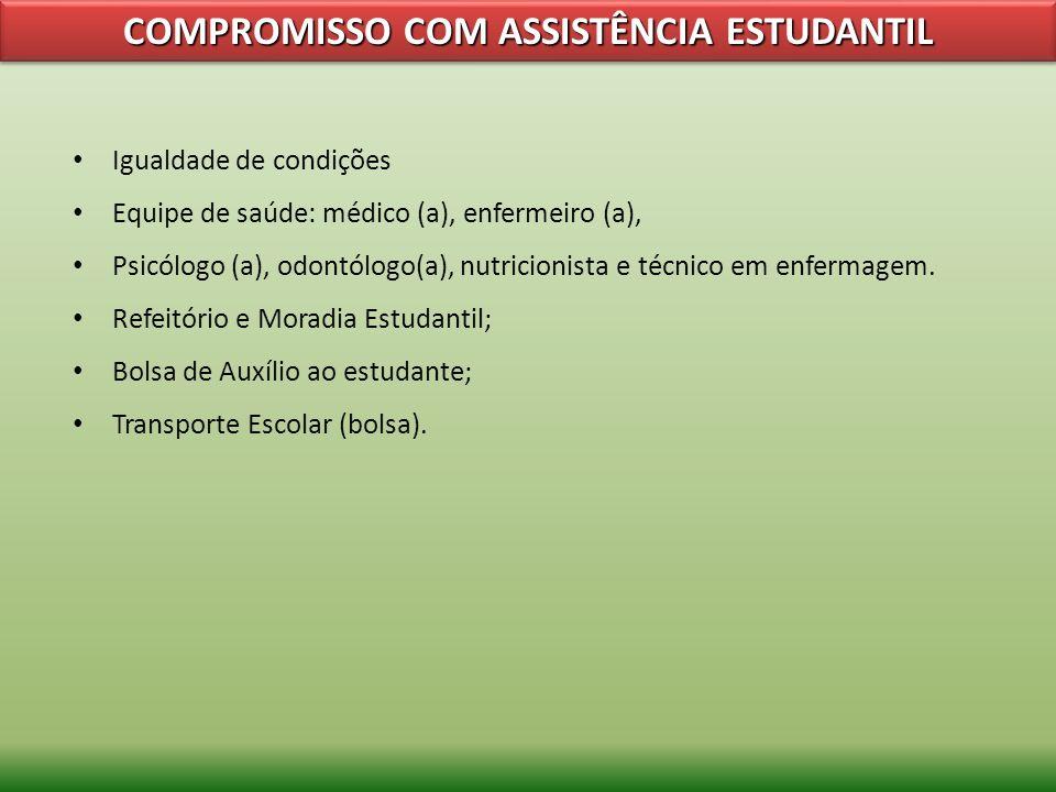 COMPROMISSO COM ASSISTÊNCIA ESTUDANTIL Igualdade de condições Equipe de saúde: médico (a), enfermeiro (a), Psicólogo (a), odontólogo(a), nutricionista
