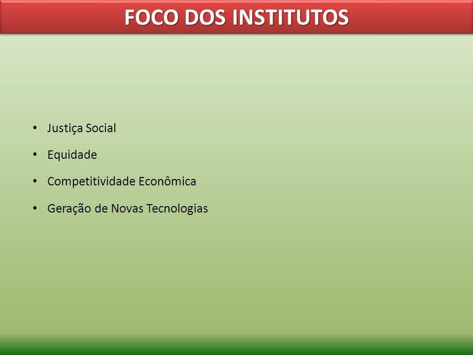 FOCO DOS INSTITUTOS Justiça Social Equidade Competitividade Econômica Geração de Novas Tecnologias