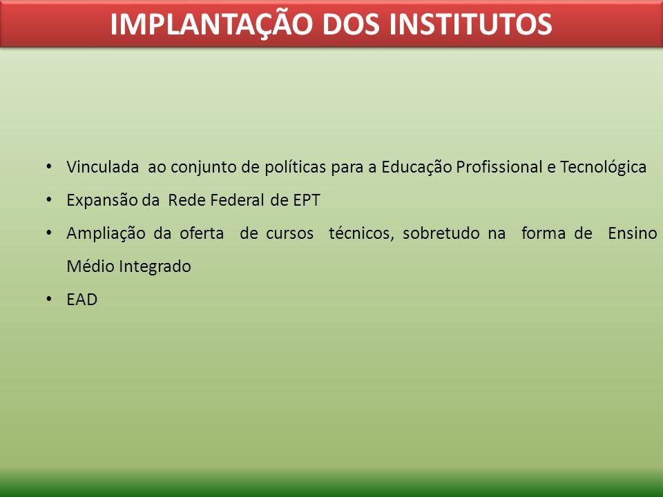 IMPLANTAÇÃO DOS INSTITUTOS Vinculada ao conjunto de políticas para a Educação Profissional e Tecnológica Expansão da Rede Federal de EPT Ampliação da