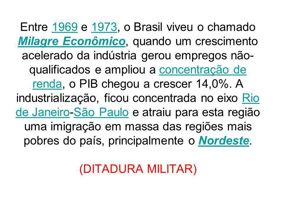 Entre 1969 e 1973, o Brasil viveu o chamado Milagre Econômico, quando um crescimento acelerado da indústria gerou empregos não- qualificados e ampliou