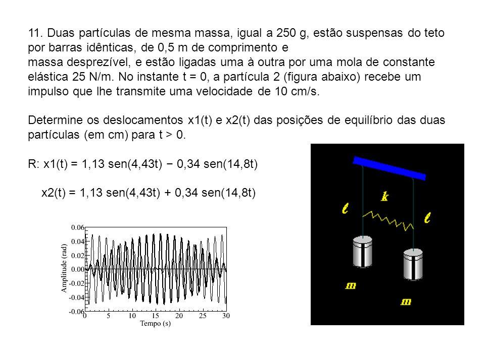 11. Duas partículas de mesma massa, igual a 250 g, estão suspensas do teto por barras idênticas, de 0,5 m de comprimento e massa desprezível, e estão