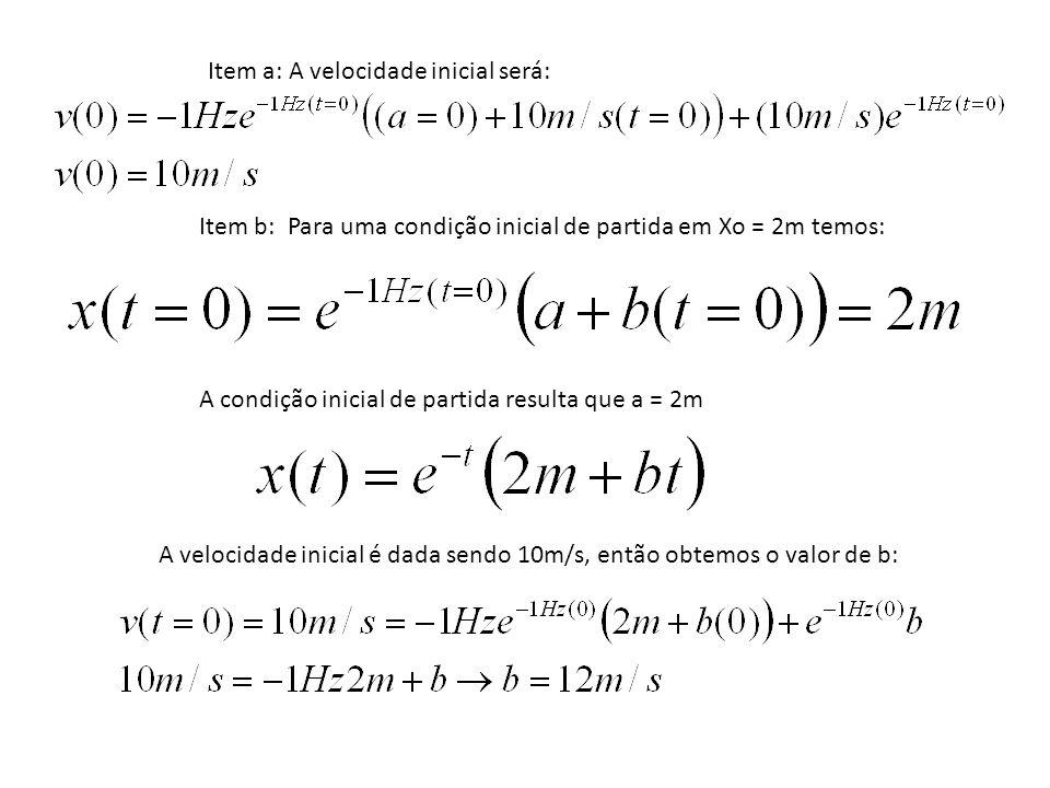Item a: A velocidade inicial será: Item b: Para uma condição inicial de partida em Xo = 2m temos: A condição inicial de partida resulta que a = 2m A v