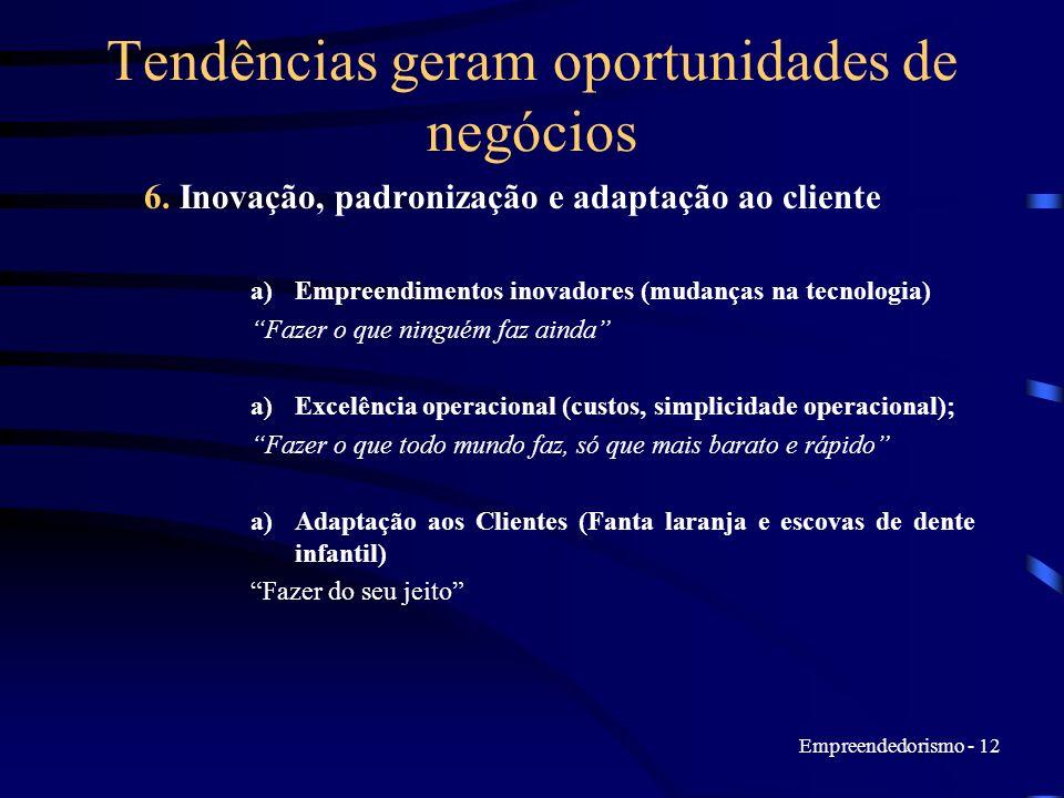 Empreendedorismo - 12 Tendências geram oportunidades de negócios 6. Inovação, padronização e adaptação ao cliente a)Empreendimentos inovadores (mudanç