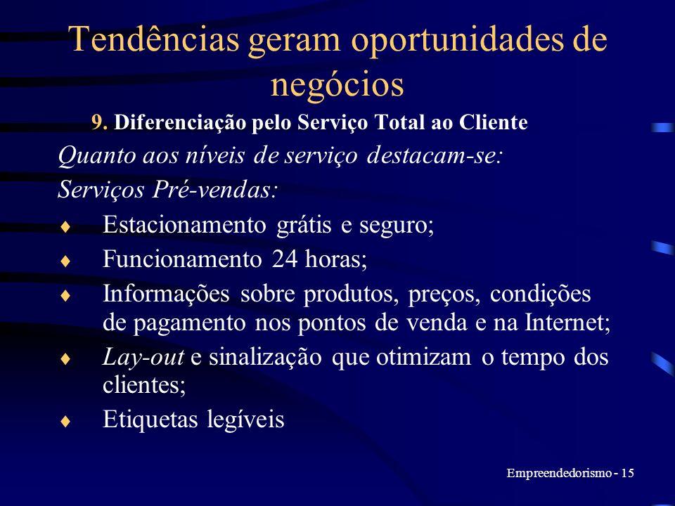 Empreendedorismo - 15 Tendências geram oportunidades de negócios 9. Diferenciação pelo Serviço Total ao Cliente Quanto aos níveis de serviço destacam-