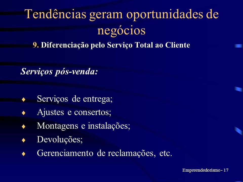 Empreendedorismo - 17 Tendências geram oportunidades de negócios 9. Diferenciação pelo Serviço Total ao Cliente Serviços pós-venda: Serviços de entreg