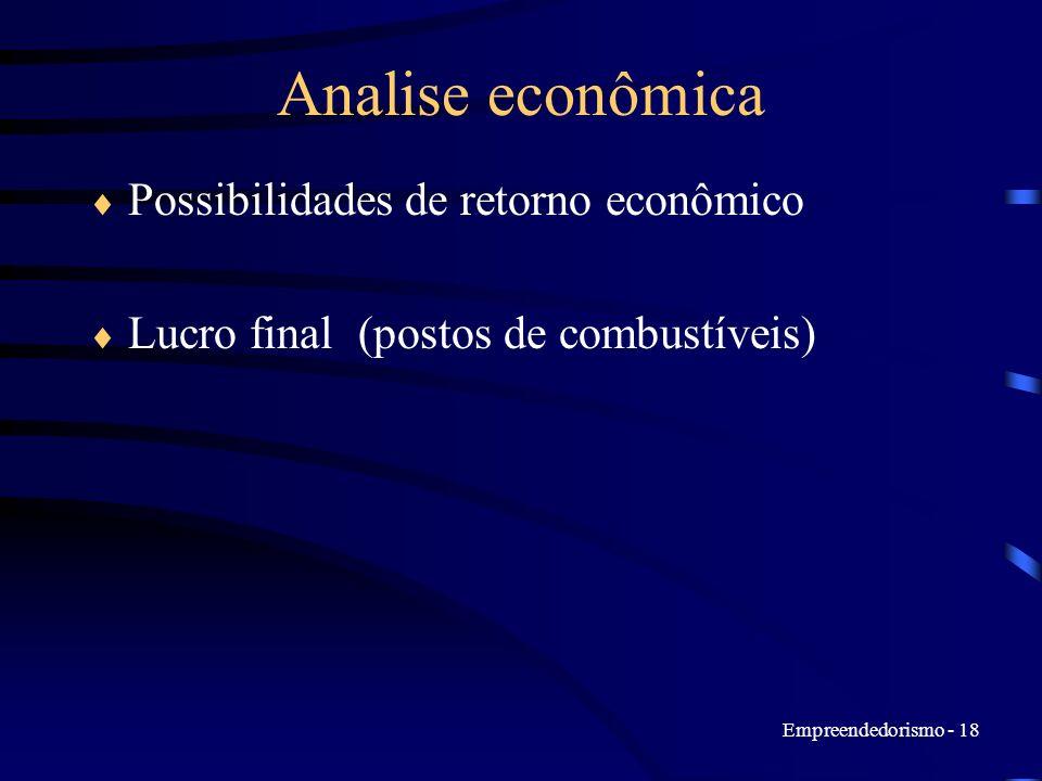 Empreendedorismo - 18 Analise econômica Possibilidades de retorno econômico Lucro final (postos de combustíveis)