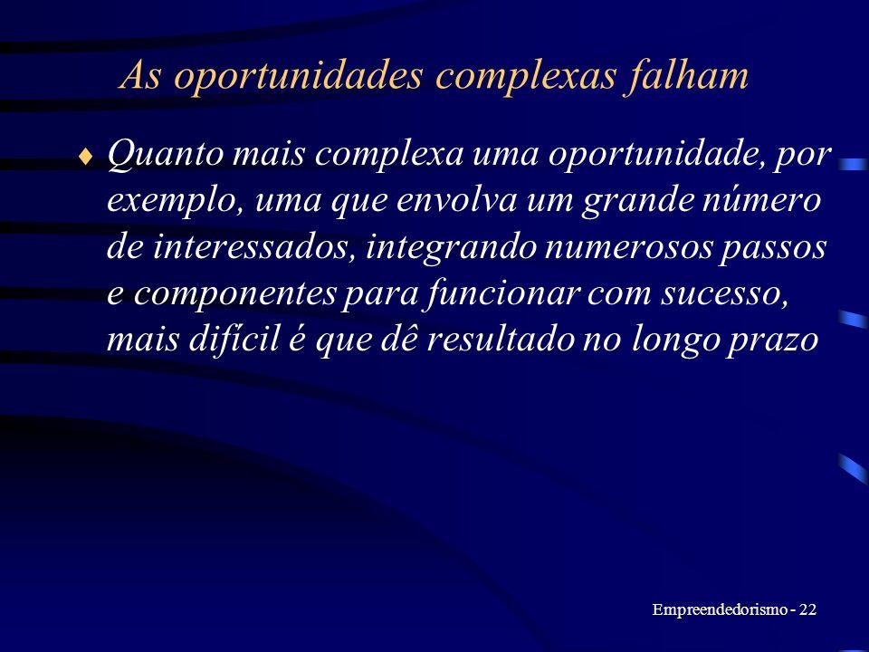 Empreendedorismo - 22 As oportunidades complexas falham Quanto mais complexa uma oportunidade, por exemplo, uma que envolva um grande número de intere