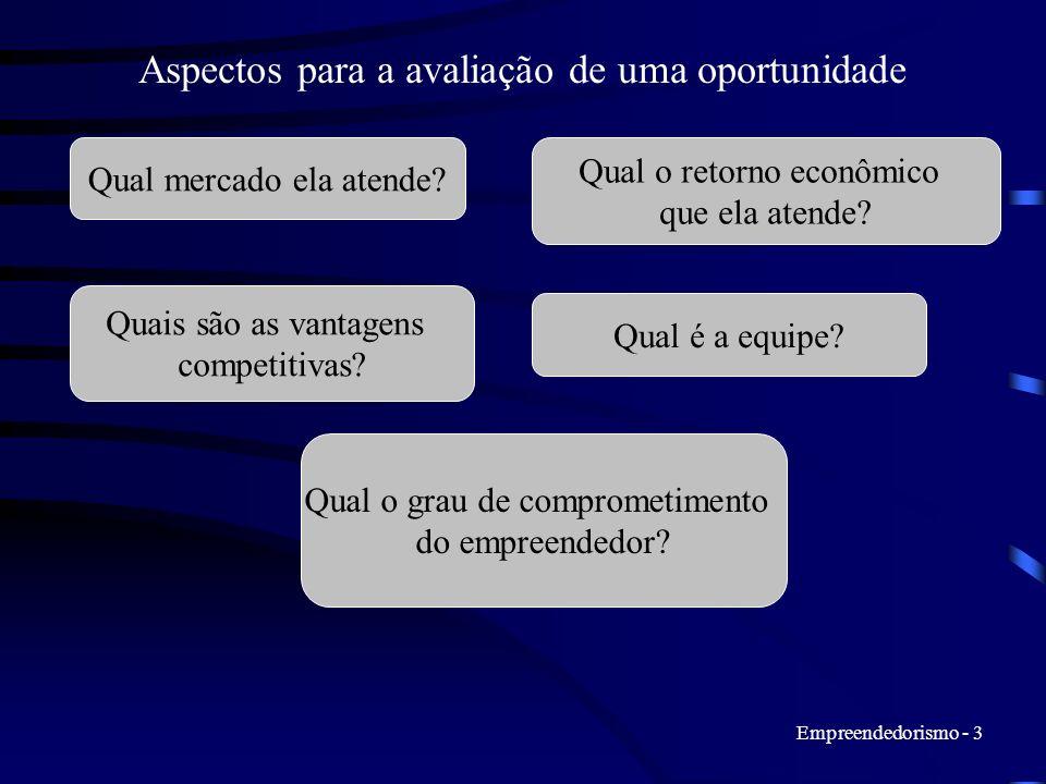 Empreendedorismo - 3 Aspectos para a avaliação de uma oportunidade Qual mercado ela atende? Qual o retorno econômico que ela atende? Quais são as vant