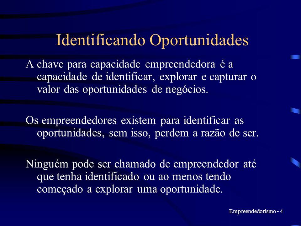Empreendedorismo - 4 Identificando Oportunidades A chave para capacidade empreendedora é a capacidade de identificar, explorar e capturar o valor das