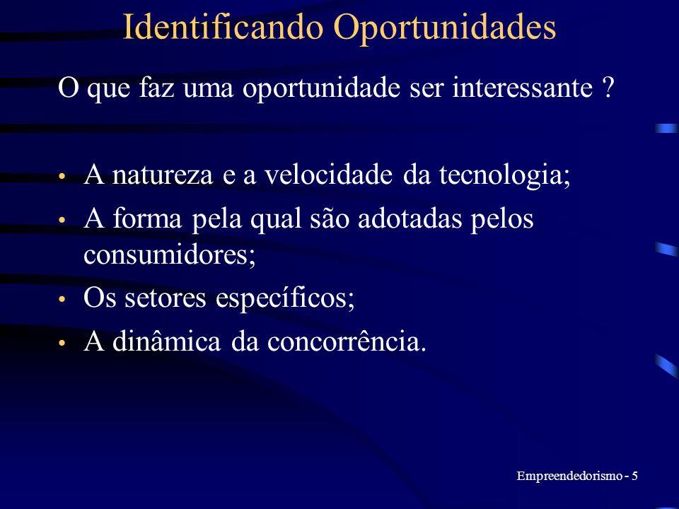 Empreendedorismo - 5 Identificando Oportunidades O que faz uma oportunidade ser interessante ? A natureza e a velocidade da tecnologia; A forma pela q