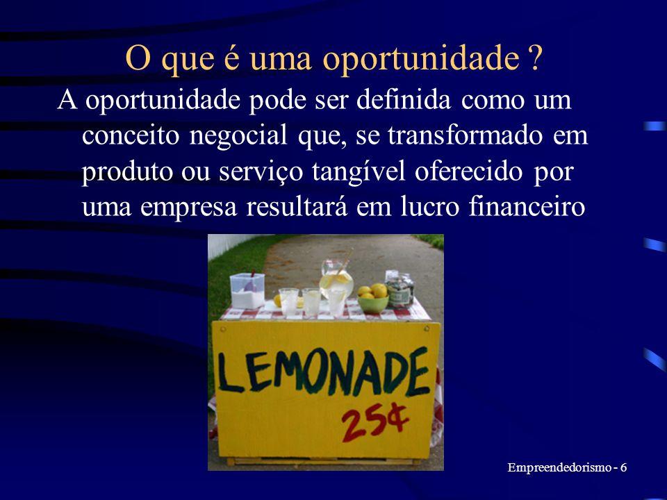 Empreendedorismo - 6 O que é uma oportunidade ? A oportunidade pode ser definida como um conceito negocial que, se transformado em produto ou serviço