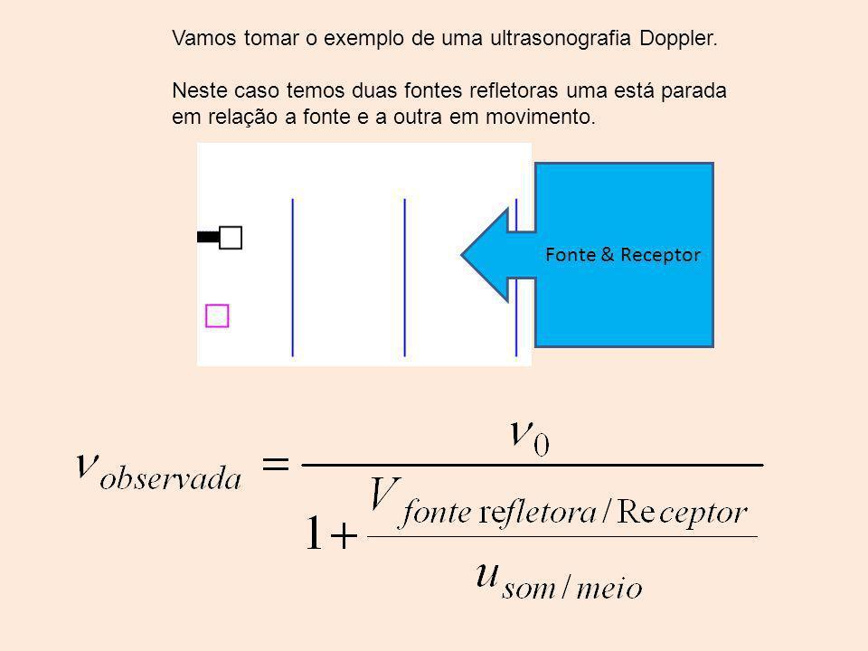 Vamos tomar o exemplo de uma ultrasonografia Doppler. Neste caso temos duas fontes refletoras uma está parada em relação a fonte e a outra em moviment