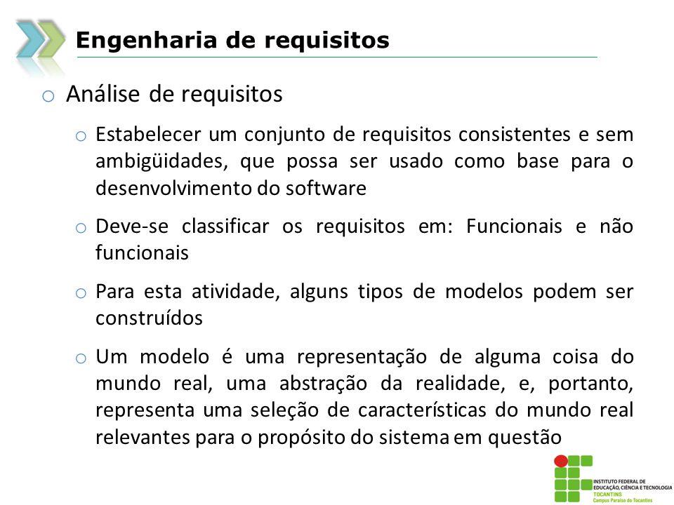 Engenharia de requisitos o Análise de requisitos o Estabelecer um conjunto de requisitos consistentes e sem ambigüidades, que possa ser usado como bas