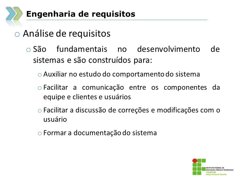 Engenharia de requisitos o Análise de requisitos o São fundamentais no desenvolvimento de sistemas e são construídos para: o Auxiliar no estudo do com