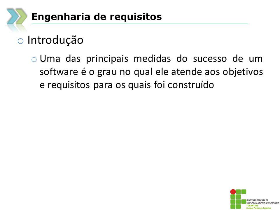 Engenharia de requisitos o Introdução o Uma das principais medidas do sucesso de um software é o grau no qual ele atende aos objetivos e requisitos pa