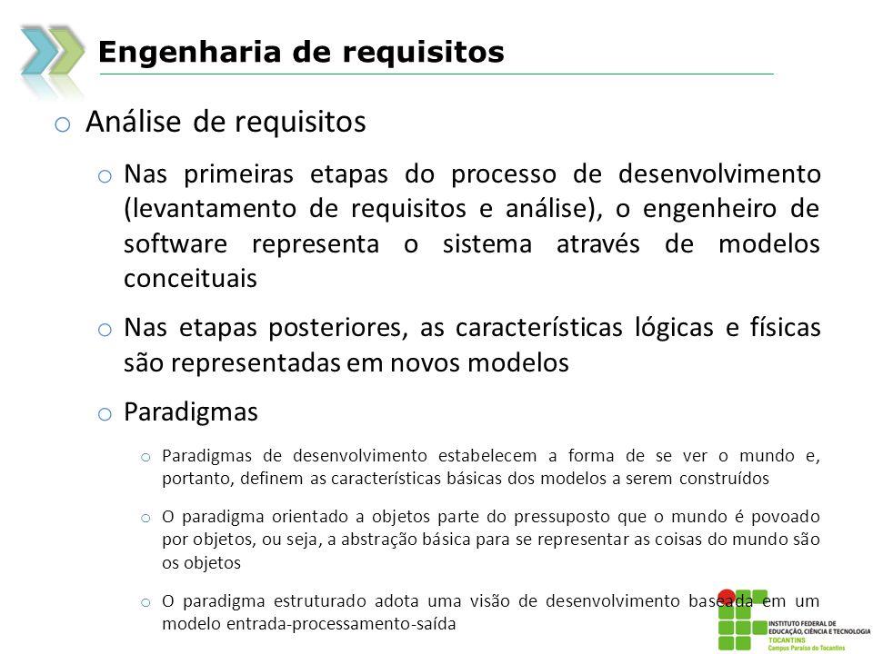 Engenharia de requisitos o Análise de requisitos o Nas primeiras etapas do processo de desenvolvimento (levantamento de requisitos e análise), o engen