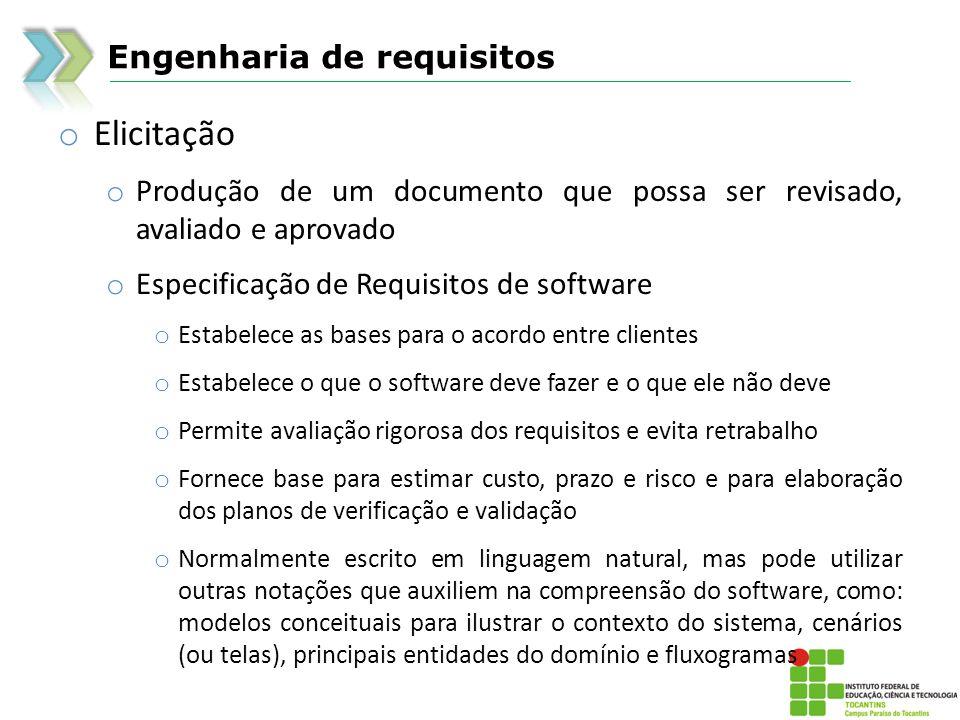 Engenharia de requisitos o Elicitação o Produção de um documento que possa ser revisado, avaliado e aprovado o Especificação de Requisitos de software