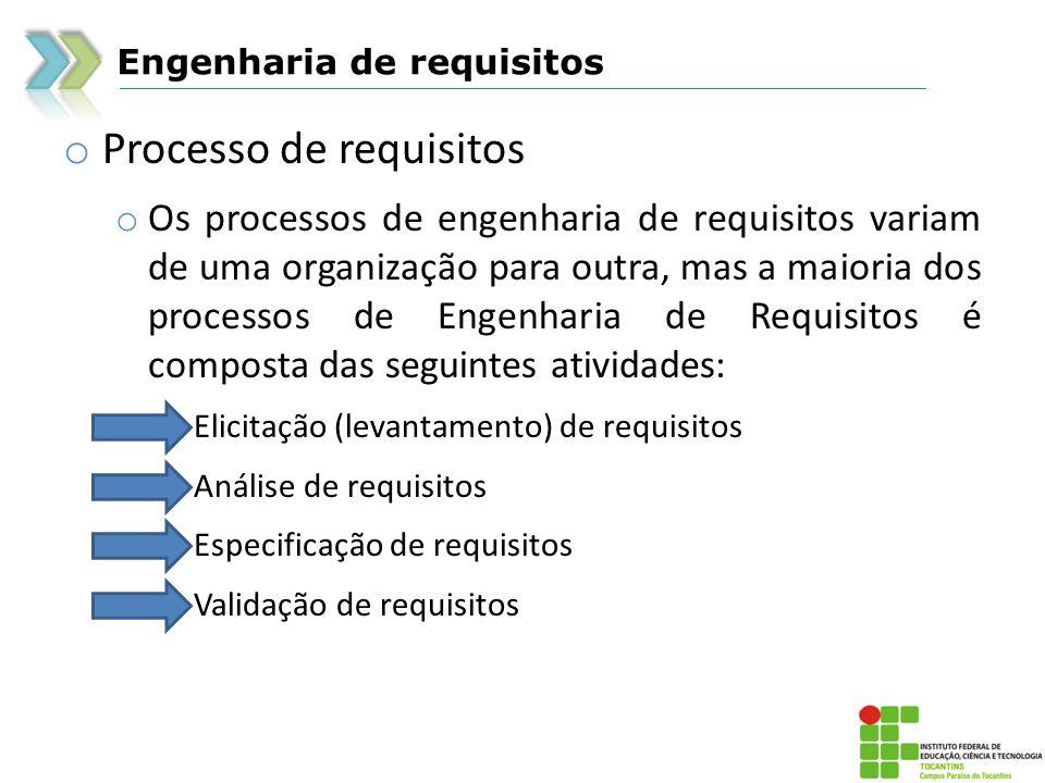 Engenharia de requisitos o Processo de requisitos o Os processos de engenharia de requisitos variam de uma organização para outra, mas a maioria dos p