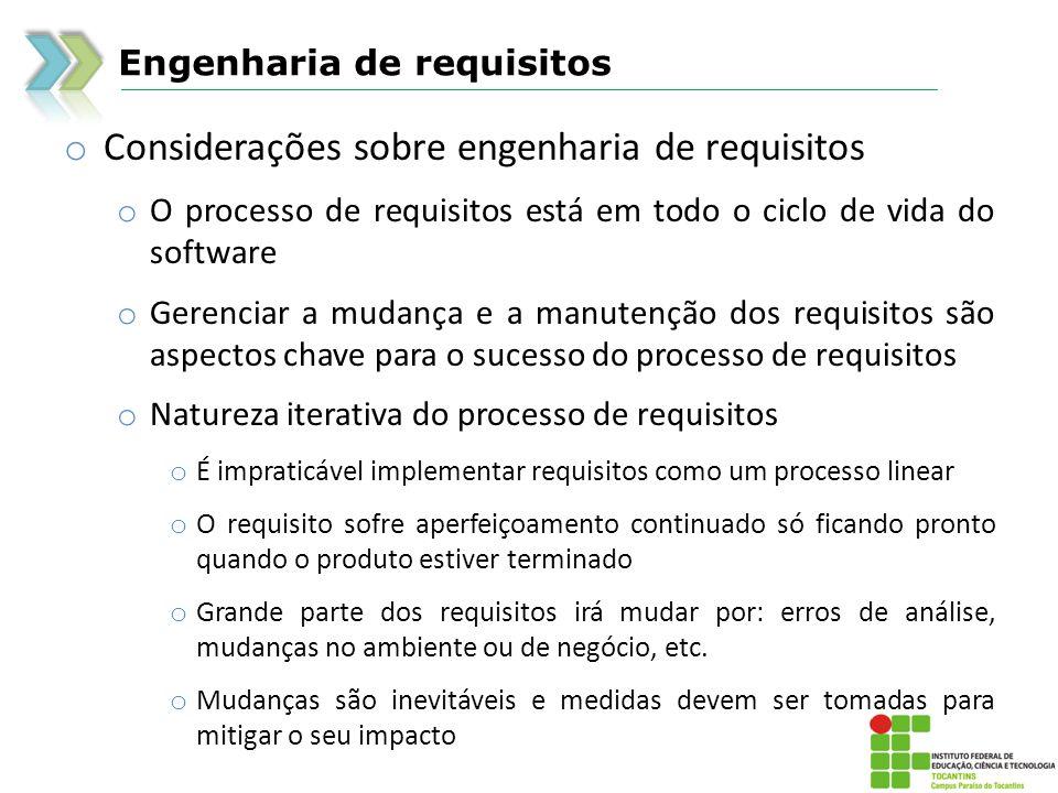 Engenharia de requisitos o Considerações sobre engenharia de requisitos o O processo de requisitos está em todo o ciclo de vida do software o Gerencia