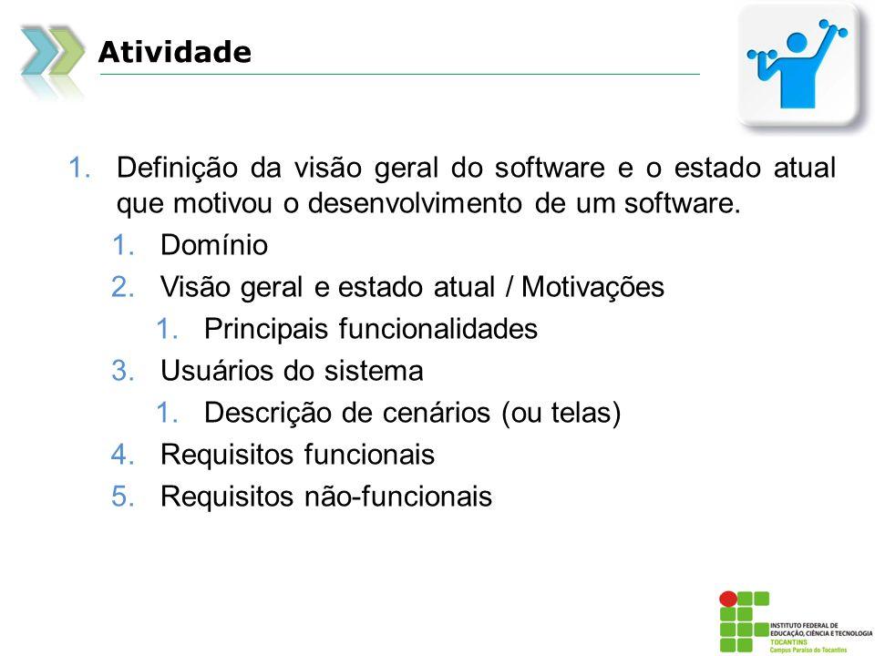 Atividade 1.Definição da visão geral do software e o estado atual que motivou o desenvolvimento de um software. 1.Domínio 2.Visão geral e estado atual