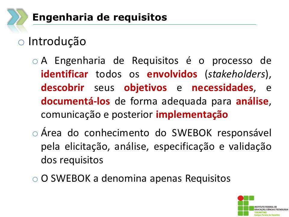 Engenharia de requisitos o Processo de requisitos o Os processos de engenharia de requisitos variam de uma organização para outra, mas a maioria dos processos de Engenharia de Requisitos é composta das seguintes atividades: o Elicitação (levantamento) de requisitos o Análise de requisitos o Especificação de requisitos o Validação de requisitos