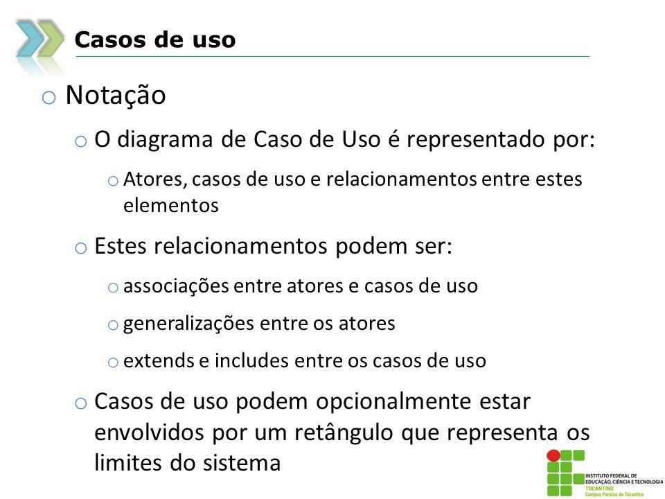 Casos de uso o Notação o O diagrama de Caso de Uso é representado por: o Atores, casos de uso e relacionamentos entre estes elementos o Estes relacion