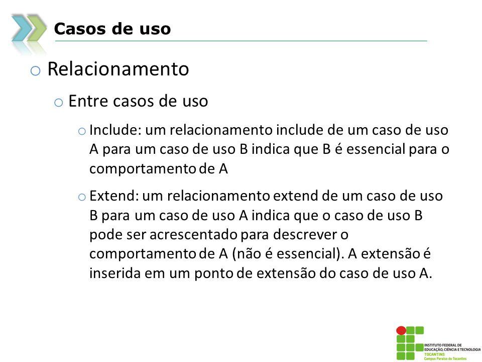 Casos de uso o Relacionamento o Entre casos de uso o Include: um relacionamento include de um caso de uso A para um caso de uso B indica que B é essen