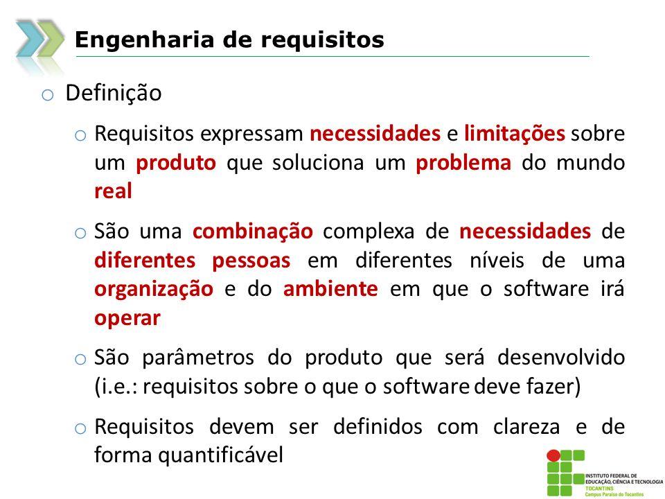 Engenharia de requisitos o Definição o Requisitos expressam necessidades e limitações sobre um produto que soluciona um problema do mundo real o São u