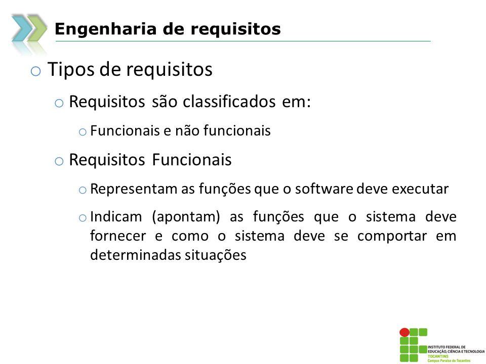 Engenharia de requisitos o Tipos de requisitos o Requisitos não funcionais o Descrevem restrições sobre as funções oferecidas, tais como: o Restrições de uso de recursos, requisitos de qualidade, de desempenho, de segurança, de manutenibilidade, de usabilidade, etc...