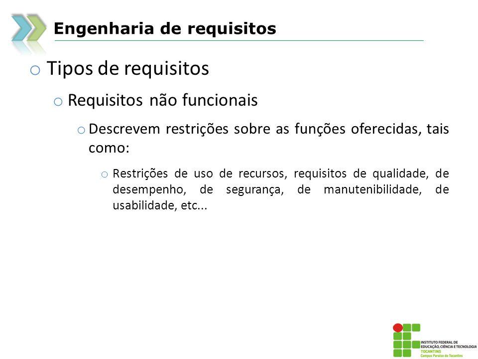 Engenharia de requisitos o Tipos de requisitos o Requisitos não funcionais o Descrevem restrições sobre as funções oferecidas, tais como: o Restrições