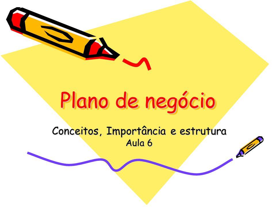 Plano de negócio Conceitos, Importância e estrutura Aula 6