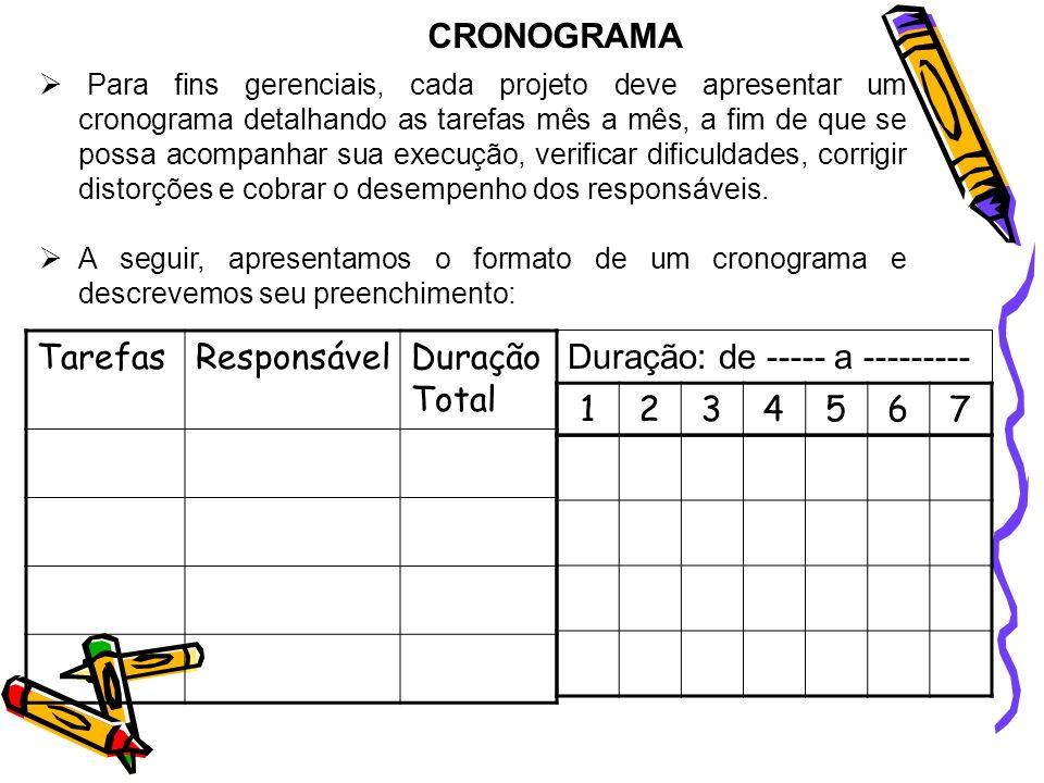 CRONOGRAMA Para fins gerenciais, cada projeto deve apresentar um cronograma detalhando as tarefas mês a mês, a fim de que se possa acompanhar sua exec