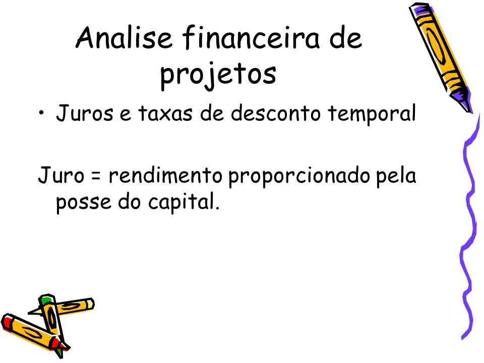 Analise financeira de projetos Juros e taxas de desconto temporal Juro = rendimento proporcionado pela posse do capital.