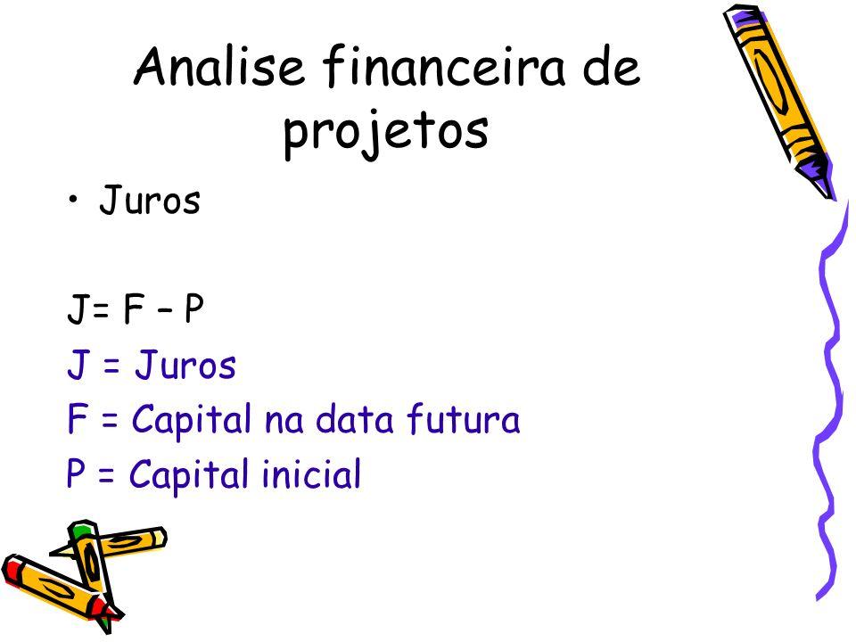 Analise financeira de projetos Juros J= F – P J = Juros F = Capital na data futura P = Capital inicial