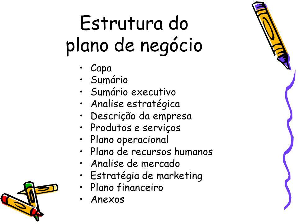 Estrutura do plano de negócio Capa Sumário Sumário executivo Analise estratégica Descrição da empresa Produtos e serviços Plano operacional Plano de r