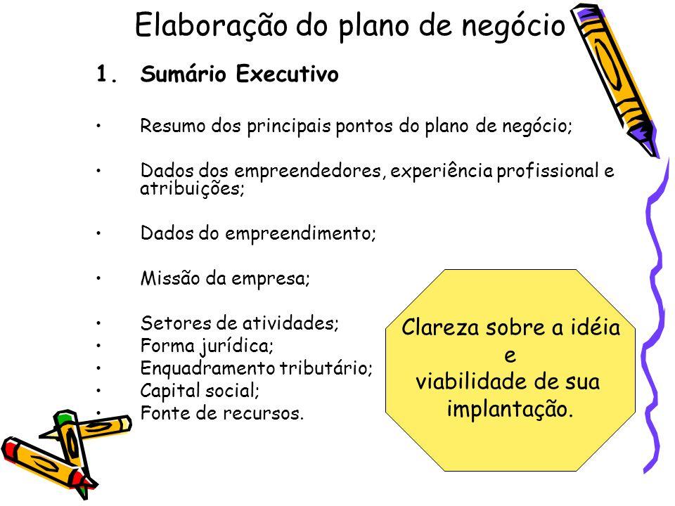 Elaboração do plano de negócio 1.Sumário Executivo Resumo dos principais pontos do plano de negócio; Dados dos empreendedores, experiência profissiona