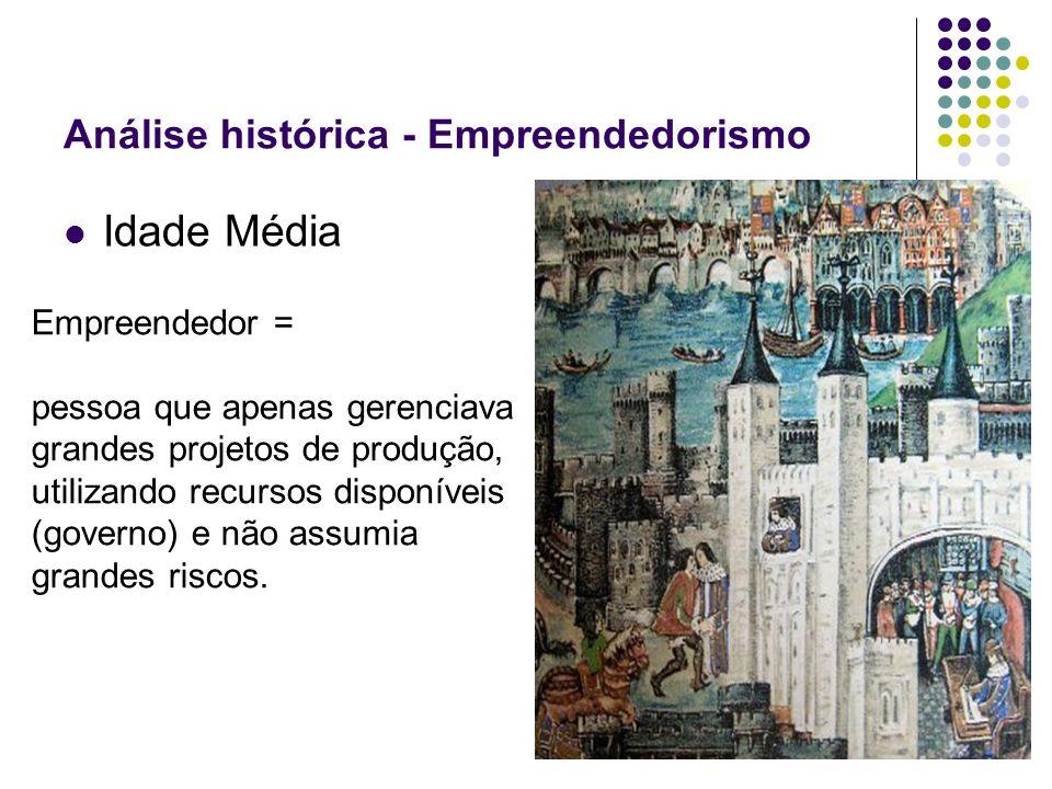 Análise histórica - Empreendedorismo Idade Média Empreendedor = pessoa que apenas gerenciava grandes projetos de produção, utilizando recursos disponí
