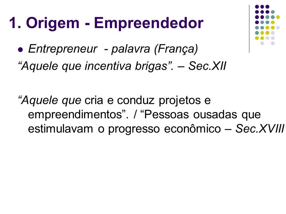 1. Origem - Empreendedor Entrepreneur - palavra (França) Aquele que incentiva brigas. – Sec.XII Aquele que cria e conduz projetos e empreendimentos. /