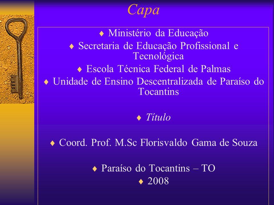 Ministério da Educação Secretaria de Educação Profissional e Tecnológica Escola Técnica Federal de Palmas Unidade de Ensino Descentralizada de Paraíso
