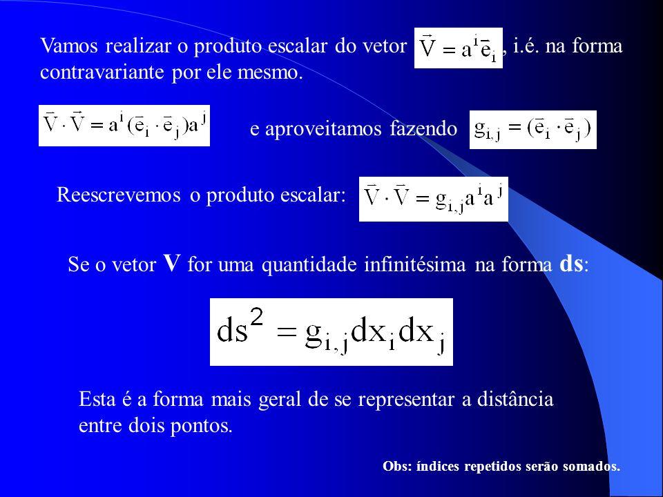 Vamos realizar o produto escalar do vetor, i.é. na forma contravariante por ele mesmo. e aproveitamos fazendo Se o vetor V for uma quantidade infinité