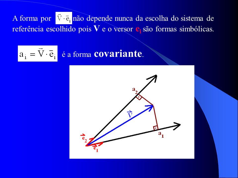 A forma por não depende nunca da escolha do sistema de referência escolhido pois V e o versor e i são formas simbólicas. é a forma covariante.
